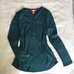 Teal coloured ribbed henley